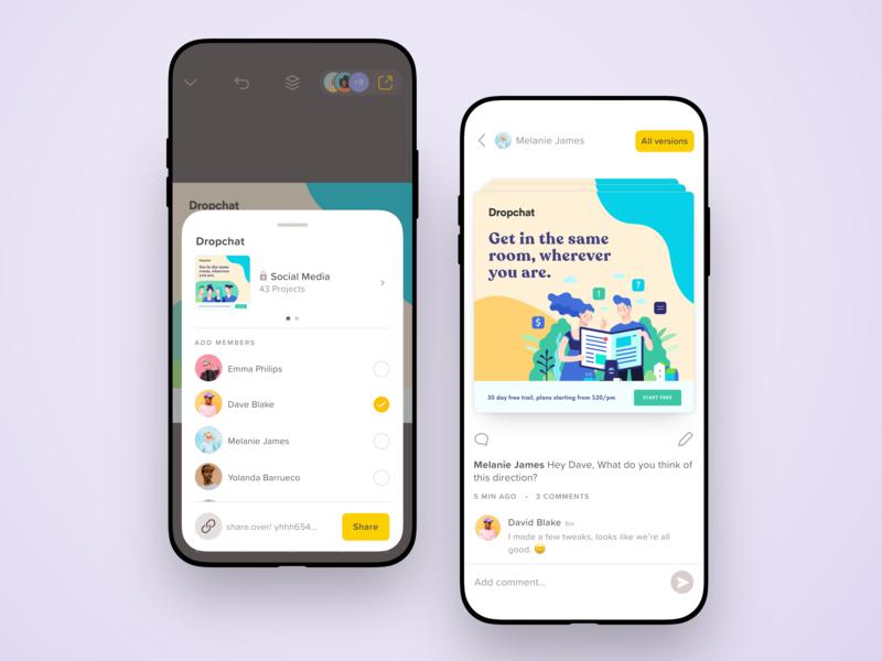 Team Project Editing & Versions product design team over minimal ux ui mobile app betraydan