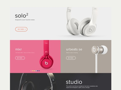 Beats by Dre shop ecommerce fashion sound headphone clear flat web minimal beats by dre