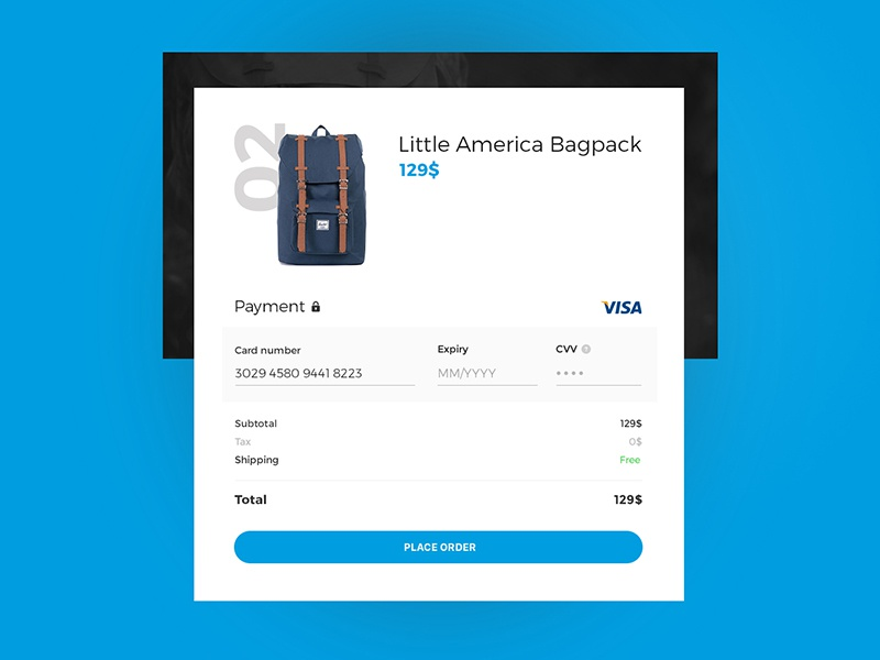 #002 - Credit Card Checkout prototype ux checkout form ui dailyui challenge