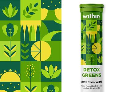 Detox Greens Packaging Design - Within branding concept branding design package pattern graphics graphic design graphicdesign geometric design geometric photoshop illustrator branding packaging design packagingdesign packaging