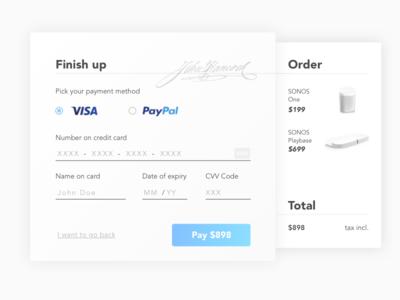 Checkout paypal sonos light payment creditcard checkout 002 design ui dailyui