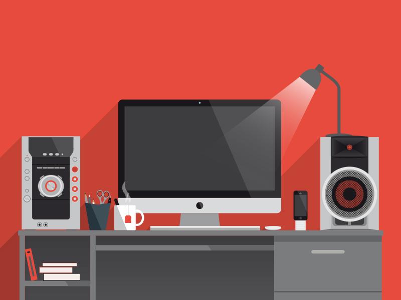 Desk illustration vector desk designer