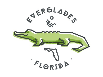 Everglades, Florida tee state erverglades florida gator illustration