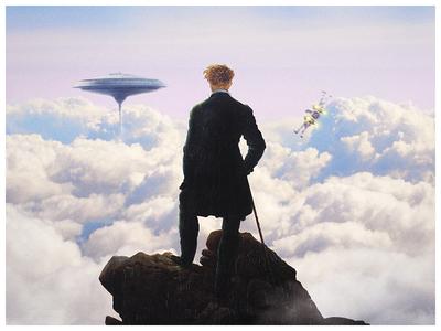 Wanderer looking at Luke's arrival darth vador han solo land calrissian luke skywalker star wars caspar david friedrich wanderer above the sea of fog romanticism painting photo friedrich