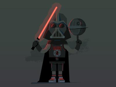 Vader in attack mode. dark side death star star wars darth vader empire lightsaber illustration basketball vader