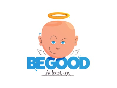 At least, try. be good graphic design devil aureola halo try good angel illustration