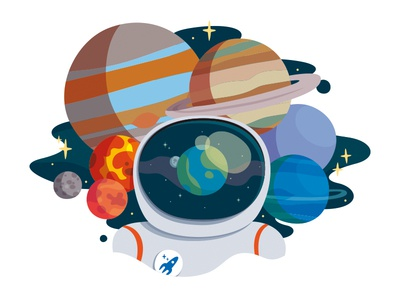 Head in Space. graphic design universe illustration earth planets astronaut space