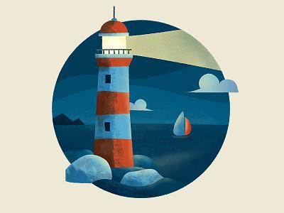 Lighthouse light ocean boat clouds night sea lighthouse