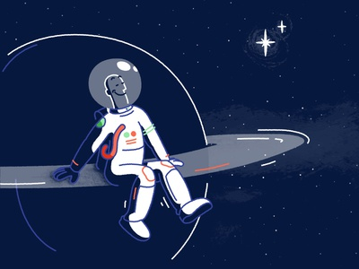 Take me to Saturn stars milky way illustrated science astronaut space saturn illustration
