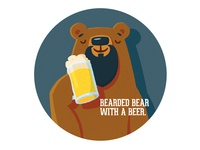 Bearded bear with a beer.