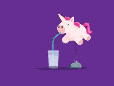 Drink water horse graphic design balloon air balloon water glass illustration illustrator unicorn