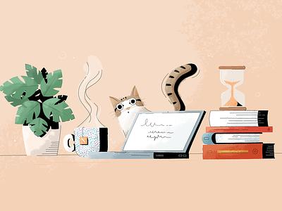 Literary blog illustration - Noveltea plant timer cup of tea tea laptop books cat design graphic design illustration