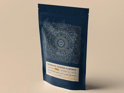 Crave Chocolate Almonds mockup natural bag design bag chocolate hand drawn illustration packaging package design design branding