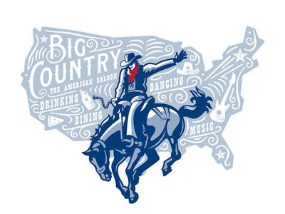 Big Country jump concept hat america american saloon horse rodeo cowboy typography old vector custom branding retro illustration classic logo vintage