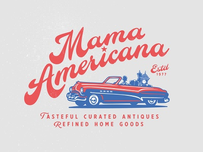 Mama Americana lettering typogaphy car antique identity old vector custom branding retro illustration classic logo vintage