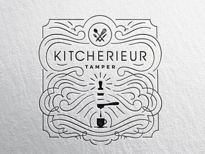 Kitcherieur Temper packaging classic typography custom branding retro logo vintage