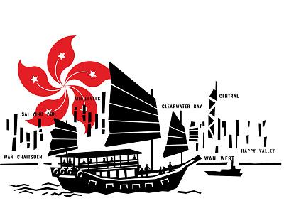 Hong Kong Spot Illustration cityscape boat hong kong design typography old vector custom branding retro illustration classic vintage