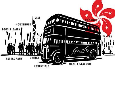 Hong Kong Spot Illustration bus design typography old vector custom branding retro illustration classic vintage