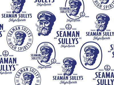 Seman Sully's Spirits typography smoking captain seaman lockup typogaphy identity old vector custom branding retro illustration classic logo vintage