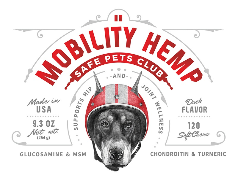 Safe Pets Club Mobility Hemp Packaging dog illustration label design packaging pets hemp typography identity vector custom branding retro classic logo vintage