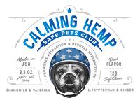 Safe Pets Club Calming Hemp Packaging print label helmet old school pet dog typography vector custom branding retro illustration classic logo vintage