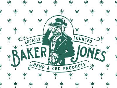 Baker Jones hat gentleman bully bulldog weed hemp cbd baker identity old vector custom branding retro illustration classic logo vintage