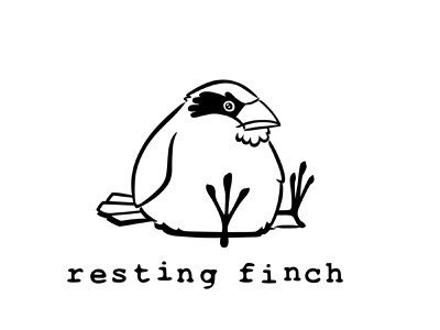 Resting Finch Logo bird finch design identity old vector branding retro illustration classic logo