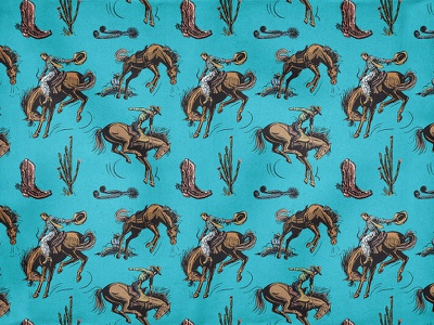 BuckarooBaby Bronco Pattern cactus retro western action rodeo cowboy bronco custom illustration classic vintage