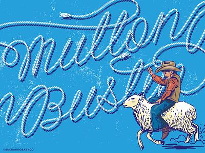 Mutton Bustin' country sport western art buckaroo clothing pattern pattern spot illstration outdoors ropes sport western mutton bustin cowboy vector retro custom illustration classic vintage