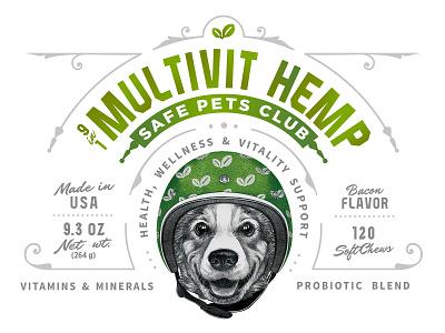 Safe Pets Club Multivit Hemp Packaging logo graphic design retro illustration ill custom vector pet dog old school label print branding classic vintage