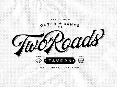 Two Roads Tavern Brand Identity retro modern identity fluid design tshirt design graphic design sports bar hangout tavern vector design branding custom retro illustration logo classic vintage