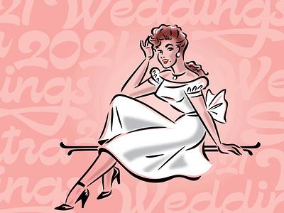 WeddingSutra Pinup invitation vector mod vintage elegant bride lady woman sexy graphic design branding custom retro logo classic vintage illustration pinup gown wedding sutra