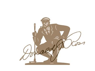 Donald J Ross illustration classic vintage club smoking pipe green golf golfer