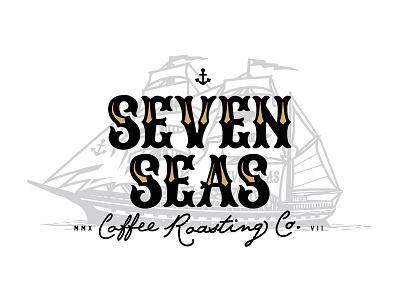 Seven Seas Coffee Roasting anchor illustration logo vintage ship roasting coffee seas seven