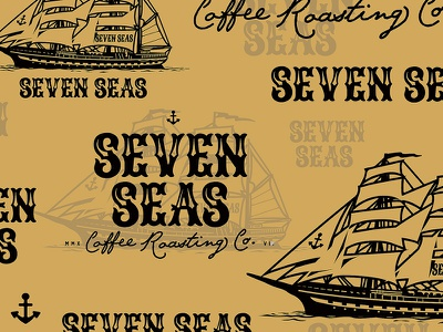 Seven Seas Coffee Roasting vintage ship seven seas roasting logo illustration coffee anchor