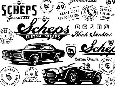 Scheps Custom Dreams logotype badass retro logo illustration restoration vintage garage custom