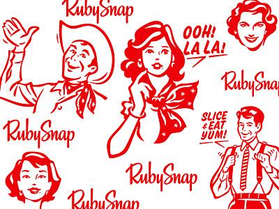 Talking Heads for RubySnap Cookies Box heads talking lolita cowboy cookies illustration vintage retro box packaging