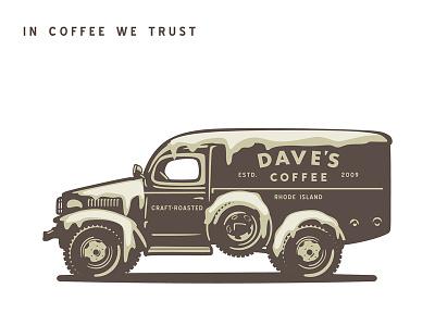 Dave's Coffee dodge roaster coffee ice rust identity logo classic design custom old branding vector retro illustration vintage