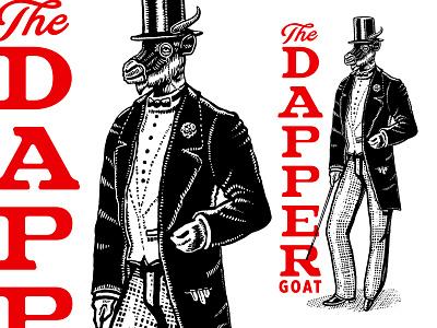 WIP - The Dapper Goat top hat old school gentlman goat identity custom branding old retro classic illustration logo vintage