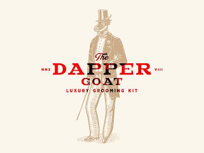 The Dapper Goat typography vintage logo illustration classic retro old branding custom identity goat gentlman old school top hat