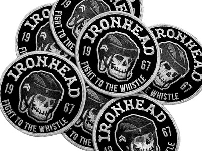 IRONHEAD Patch and FREE Font free font embroidered patch circle typeface font lockup clothing toronto canada patch icon illustration ironhead design typography identity branding retro classic vintage