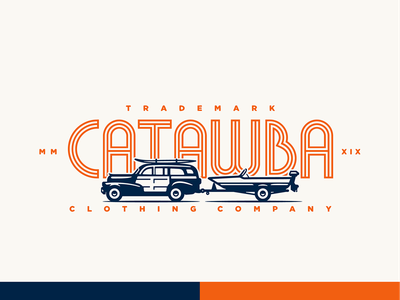 Catawba Clothing Co classic old logo typography identity custom vector branding retro illustration vintage