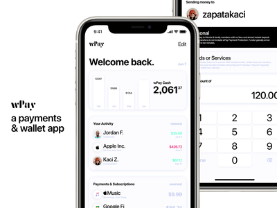 wPay—a payments & wallet app for iOS pay design apple paypal finances finance money apple pay ios banking bank wallet payment payments app design ux ui app