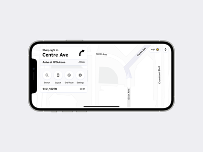 Map iOS app—Car Mode landscape travel google automotive auto carplay car navigation map maps design iphone concept ios apple ux ui app