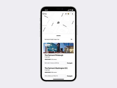 Map iOS app—Search automotive auto carplay car interface google navigation map maps design iphone concept ios apple ux ui app