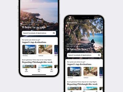 Wanderlust Airlines iOS app—Explore wanderlust traveling airport booking ticket travel airplane plane airlines airline flights flight design iphone concept ios apple ux ui app