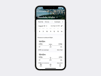 Wanderlust Airlines iOS app—Flight Selection wanderlust flights flight booking design iphone concept ios apple traveling travel airport airplane plane airlines airline ux ui app