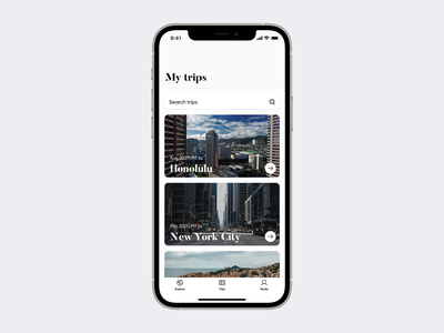 Wanderlust Airlines iOS app—My trips wanderlust tickets airplane airport booking ticket traveling travel airlines airline flights flight design iphone concept ios apple ux ui app