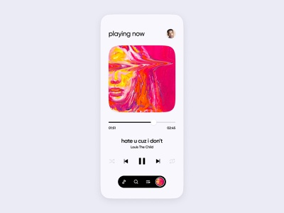Music App UI | Playing now airpods earbuds headphones modern minimal clean panora amazon tidal spotify streaming audio music mobile design concept ios apple ui app