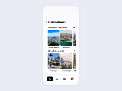 Airline App UI | Destinations pass boarding minimal modern clean expedia flights flight airport airlines airline booking tickets ticket traveling travel design concept ui app